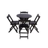 Jogo De Mesa Bar Tampo Redondo 70x70 Com 4 Cadeiras Dobrável