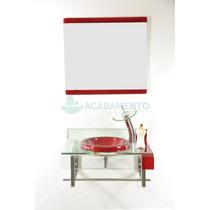 Gabinete De Vidro 60cm Vermelho Vinho + Misturador + Kit Ace