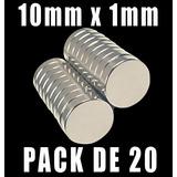 Imanes De Neodimio 10x1mm Pack De 20 Unidades Super Potentes