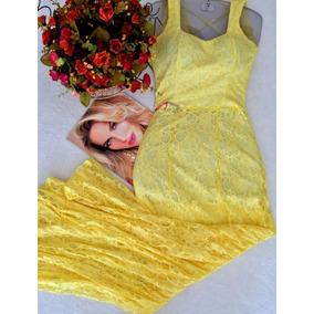 Vestido Longo Amarelo Em Renda Decote Costas Tam P