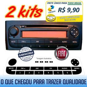 2 Kit Adesivos Rádio Fiat Linea Punto Som Code Cabo Auxiliar