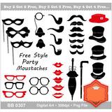 Kit Imprimible Mostacho Sombrero Lentes Pipa Beso 6 Imagenes