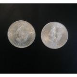 Monedas Antiguas 2 .cuauhtémoc De 5 Pesos Plata . Ley 900