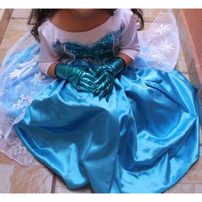 Vestido Princesa Disfraz Elsa Frozen Talla 1
