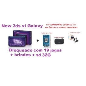New 3ds Xl Galaxy.bloqueado 19 Jogos+sd 32gb+brindes