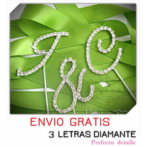 Envio + 3 Iniciales Letras Diamante Decoracion Pastel