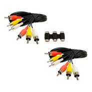 2 Cable Rca-rca  De 1.8m + 1 Cople Rca-rca