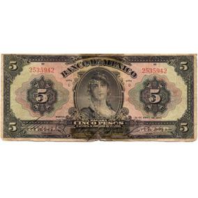 Antiguo Billete 5 Pesos Gitana Grande Año 1934