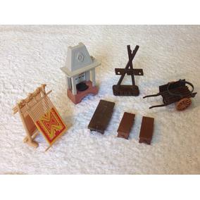 Playmobil Medieval - Móveis Medievais: Lareira, Tear, Bancos