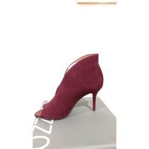 Sapato Fechado Salto Médio Arezzo Acamurcado Nobuck Burgundy