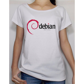 Camiseta Masculina Linux Slackware Ubuntu Fedora Debian · Camiseta Feminina Debian  Linux Nerd Informática Manga Curta 757fe387d72