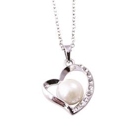 Collar Dije Corazón Tipo Perla Color Plata Cadena Bisuteria