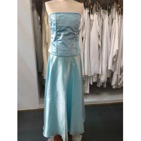Vestido De 15 Años Turquesa Aqua Gasa Cristal Corset Y Falda