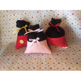 Mickey, Minnie Y Bebé Bolsitas De Tela Souvenirs!