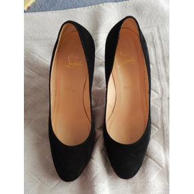 Sapato Scarpin Louboutin Preto C/ Sola Vermelha Original