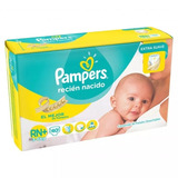 160 Pañales Pampers Extra Suave Talle Rn+ (3 A 6kg)