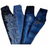 Kit 4 Calça Leg Jeans Fake Imita Jeans Plus Size Gg,g1 E G2