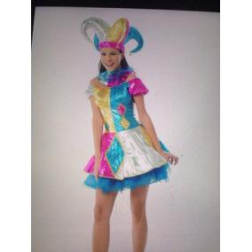 Disfraz Arlequín - Bufon Halloween Duende Bailable Niñas