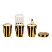 Conjunto Organizador Banheiro Spa Golden Crystal Aço Inox 4p