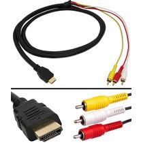 Cable Adaptador Hdmi A Rca Macho Av Audio Y Video 3 Metros