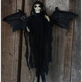 Boneco Caveira Fantasma Voadora Emite Som Drone Halloween