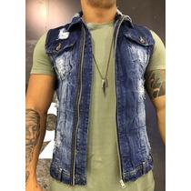 Colete Jeans Masculino Degrant Top Rasgado P/ Entrega Moda