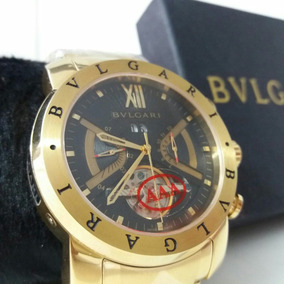 Relogio Dourado Iron Man Bv Bullgari Masculino Dourado D576