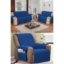 Protetor Azul Para Sofá De 2 E 3 Lugares E Poltrona 1 Lugar