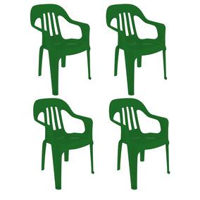 4 Sillas Plástico 82x55x55 Apoyabrazos Exterior Verde