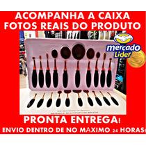 Kit Pincel Oval Dourada Maquiagem 10 Pcs + Caixa Fotos Reais
