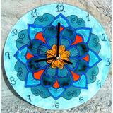 Reloj En Vitrofusión Mandala Para Colgar 25 Cm Vidrio