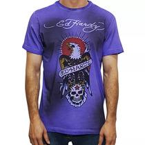 Camiseta Tshirt Ed Hardy Masculina Christian Audigier Roxo
