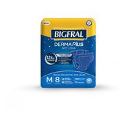 Fralda Bigfral Derma Plus Noturna Tamanho M - 8 Unidades