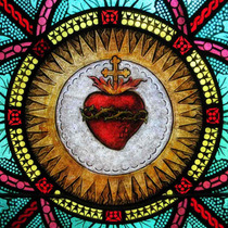 Lienzo Tela Sagrado Corazón De Jesús 50 X 50 Cm Arte Sacro