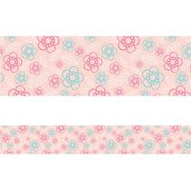 Faixa Decorativa Parede Quarto Bebe - Flores 6 - 7mts