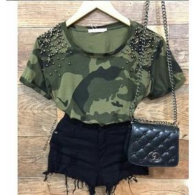 Camiseta Camuflada Militar Com Pedraria