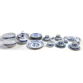 Jogo Porcelana Alemã Azul Cobalto 34 Peças