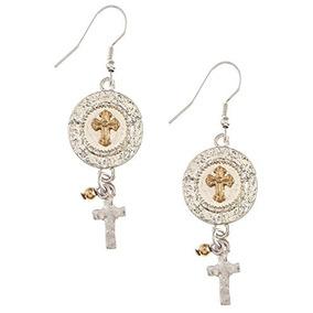 La Joya Rack Tiered Cross Charm Drop Earrings (plata / Oro)