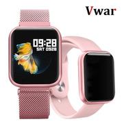 Relógio Smartwatch P80 Rosê C/2 Pulseiras Original Da Fit
