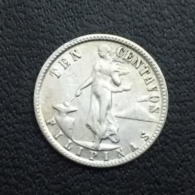 Moneda Filipinas 10 Centavos 1945 Plata