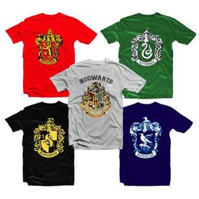 Kit 5 Camisas Harry Potter - Casas Grupos Hogwarts School