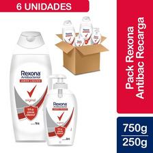 Pack Jabón Rexona Antibacterial 3 Uns. 250ml + 3 Uns. 750ml