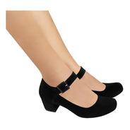 Sapato Feminino Boneca Duani Preto Camurça Salto Baixo