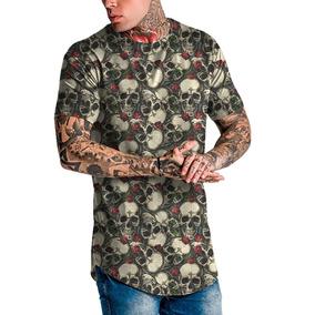 Camiseta Masculina Camisa Longline Skull Caveira Top Fashion ec84d61af8761