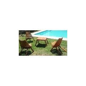 Reposera Plegable Madera Ideal Jardin,camping,pileta Y Playa
