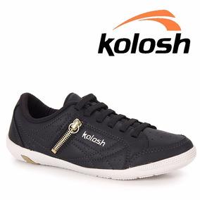 Tênis Kolosh Preto Houston Casual Couro C0413