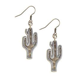 La Joya Rack Cactus Charm Cutout Pendientes (oro Antiguo)