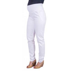 Calça Gestante Skinny Sarja Branca Para Grávida