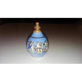 Frasco De Perfume Antiguo Cerámica Y Bronce