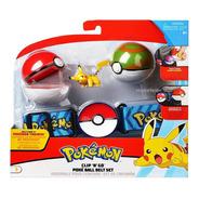 Pokemon Cinturon + Pokebola + Figura Orig Clip N Go Scarlet